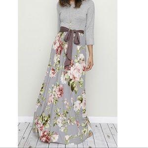 Tie Waist Floral 3/4 Sleeve Maxi Dress